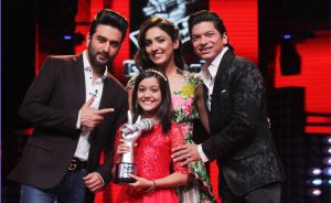 Winner of The Voice India Kids Season 1 Nishtha Sharma with coaches Shekhar Ravjiani, Neeti Mohan and Shaan