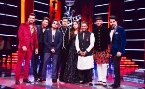 Jay Bhanushali, Shaan, Mika Singh, Salim Merchant, Neeti Mohan, Master Saleem, Benny Dayal and Gunjan Utreja on the Grand Finale of &TV's The Voice India Season 2