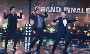 Anil Kapoor dancing along with Rising Star hostsMeiyang Chang and Raghav Juyal
