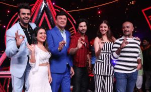Indian Idol judges with Varun and Anushka