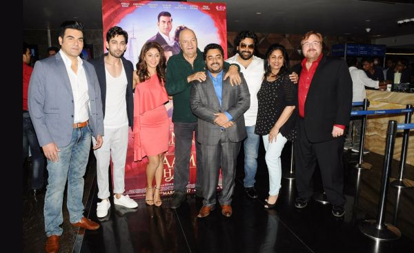 Arbaaz Khan, Himansh Kolhi, Manjari Fadnis, Prem Chopra, Director Keshhav Panneriy, Ashutosh Rana producers Purnima Mead and Stanton Mead at the music launch of Jeena Isi Ka Naam Hai