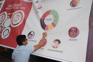 Shaan signs the infography created by Saregama