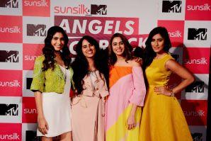 Sunsilk & MTV present Angels of Rock - (L to R) Anusha Mani, Senior Global Brand Manager - Sunsilk - Priyanka Singh, Shalmali Kholgade and Akasa Singh