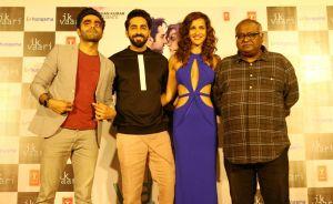 Apaarshakti Khurrana, Aisha Sharma, Ayushmann Khurrana and filmmaker Pradeep Sarkar   (Source: IANS)