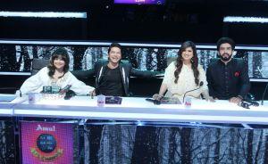 ALisha Chinai, Shaan, Richa Sharma and Amaal Mallik on the sets of Sa Re Ga Ma Pa Li'l Champs